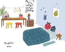 儿童房间手工绘画PSD素材