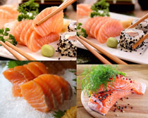 三文魚與壽司攝影高清圖片