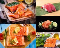 三文魚餐具與檸檬攝影高清圖片