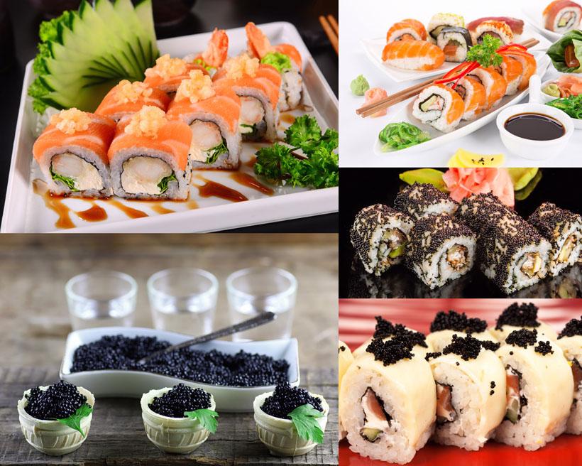 魚籽壽司食物拍攝高清圖片