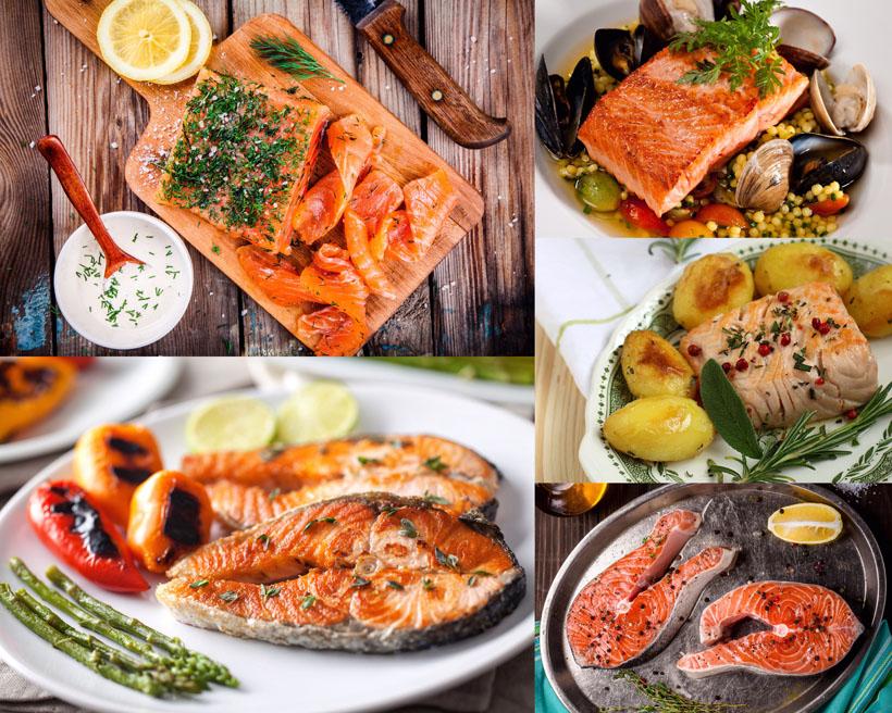 烤魚海鮮食物展示攝影高清圖片