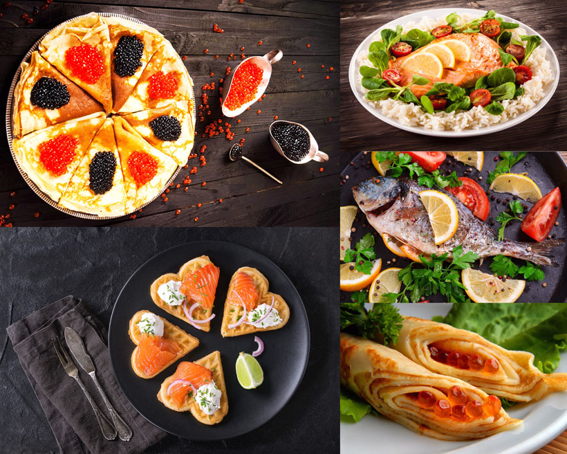 魚籽餅與烤魚攝影高清圖片
