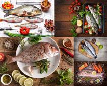 海魚檸檬調料食物攝影高清圖片