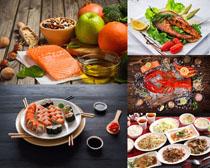 海鮮龍蝦三文魚食物攝影高清圖片
