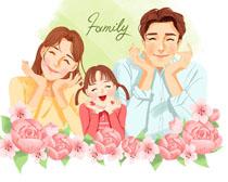 开心一家人花朵插画PSD素材