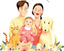 家庭人物插画PSD素材