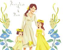 妈咪与俩姐妹插画PSD素材