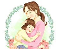 卡通妈妈与女儿插画PSD素材