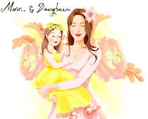 开心的妈妈与女儿插画PSD素材