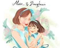开心女儿与妈妈绘画PSD素材