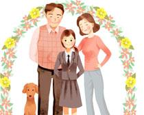 花朵与家庭人物插画PSD素材