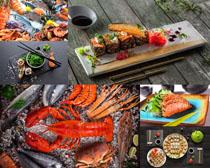 龍蝦海鮮壽司美食攝影高清圖片