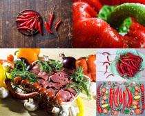 红辣椒与牛肉摄影高清图片