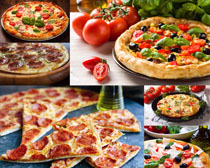 新鲜西红柿与披萨摄影高清图片