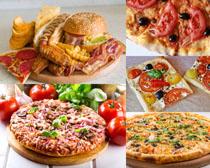 汉堡包鸡翅披萨食物摄影高清图片