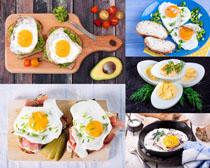 雞蛋面包早餐食物拍攝高清圖片