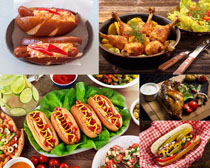 鸡腿三明治丰盛食物摄影高清图片