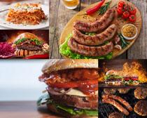 汉堡包与香肠摄影高清图片