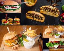 三明治漢堡包薯條攝影高清圖片