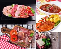 牛排羊肉卷食物攝影高清圖片