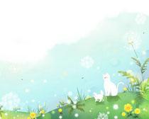 春天猫咪可爱风景绘画PSD素材
