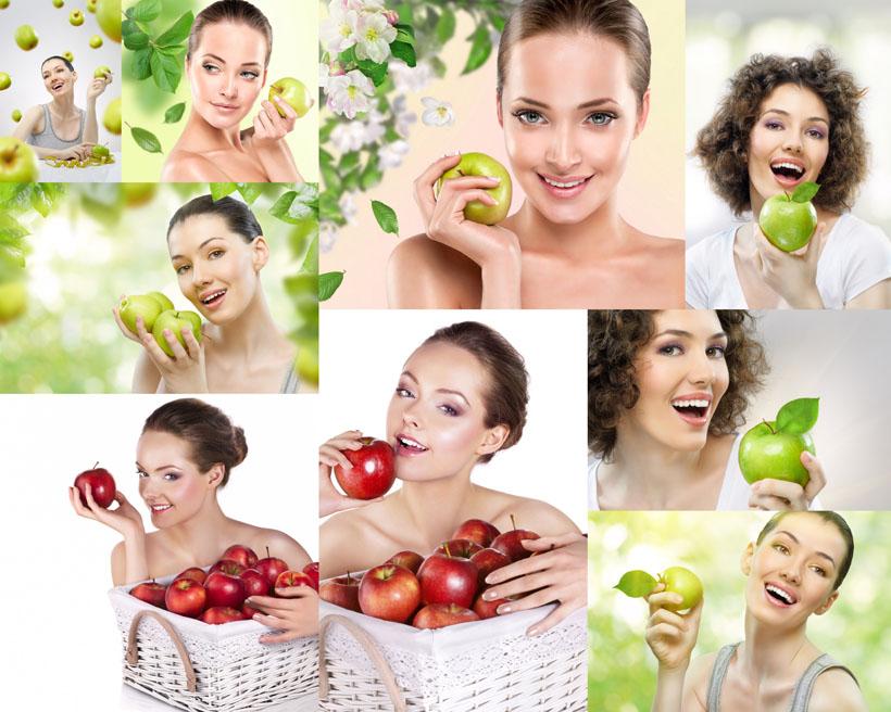 国外美女与苹果拍摄高清图片