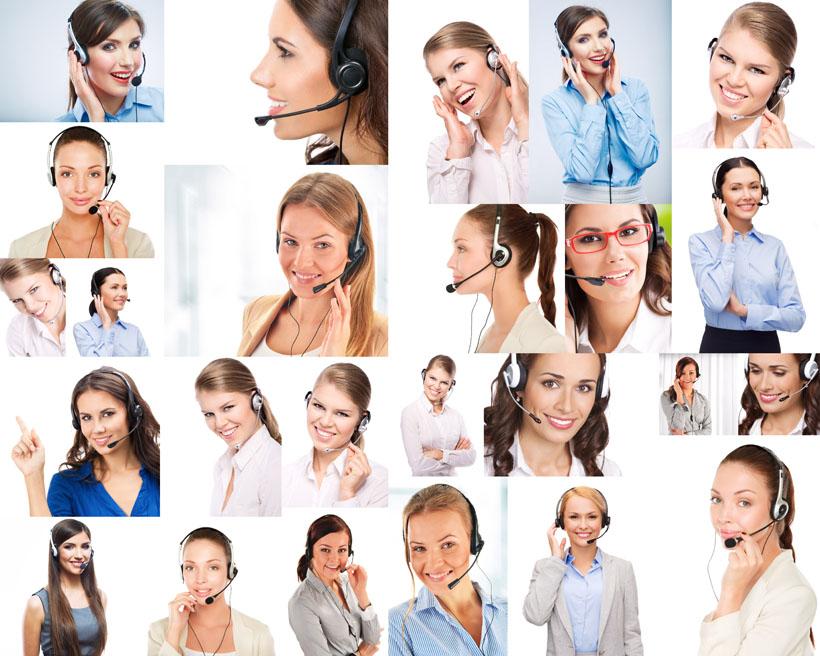 女性专业话务员写真拍摄高清图片