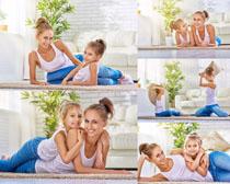 瑜伽运动母女写真拍摄高清图片