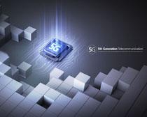 創新5G芯片廣告PSD素材