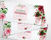 婚禮花邊設計請柬PSD素材