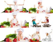 儿童小厨师与蔬菜摄影高清图片