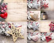 圣誕節裝扮愛心雪花松攝影高清圖片