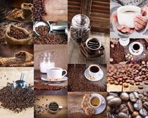 一杯咖啡與咖啡果攝影高清圖片