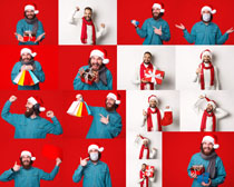 圣誕開心男人寫真攝影高清圖片