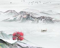 中國山水風藝術繪畫PSD素材