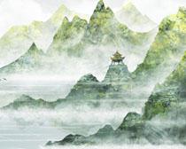 山川山峰風景繪畫PSD素材