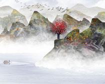 中國山水風繪畫展示PSD素材