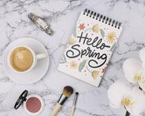 花朵咖啡記事本裝扮PSD素材