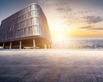 夕陽城市建筑景觀圖PSD素材