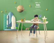 漂亮的兒童房間裝扮設計PSD素材