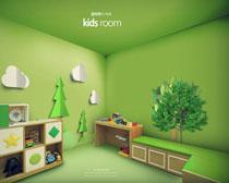 綠色室內兒童裝修風格設計PSD素材