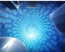 藍色商務科技大廈PSD素材