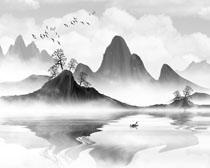 黑白山水風水墨畫PSD素材