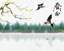春分小燕子風景繪畫PSD素材