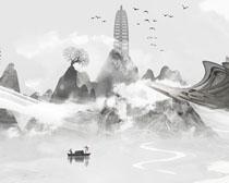 中國風古典佛像佛風景畫PSD素材