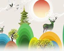 水彩中華藝術風繪畫PSD素材