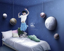 男孩夢幻藍室內風格PSD素材