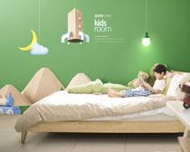 兒童床室內設計PSD素材