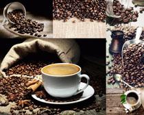 咖啡杯麻袋勺子攝影高清圖片