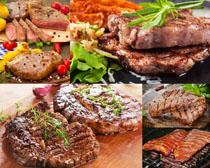 牛排與配料食物攝影高清圖片